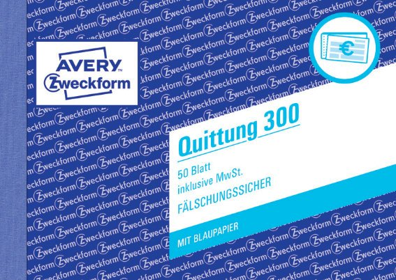 Avery Zweckform 300 Quittung inkl. MwSt., A6 quer