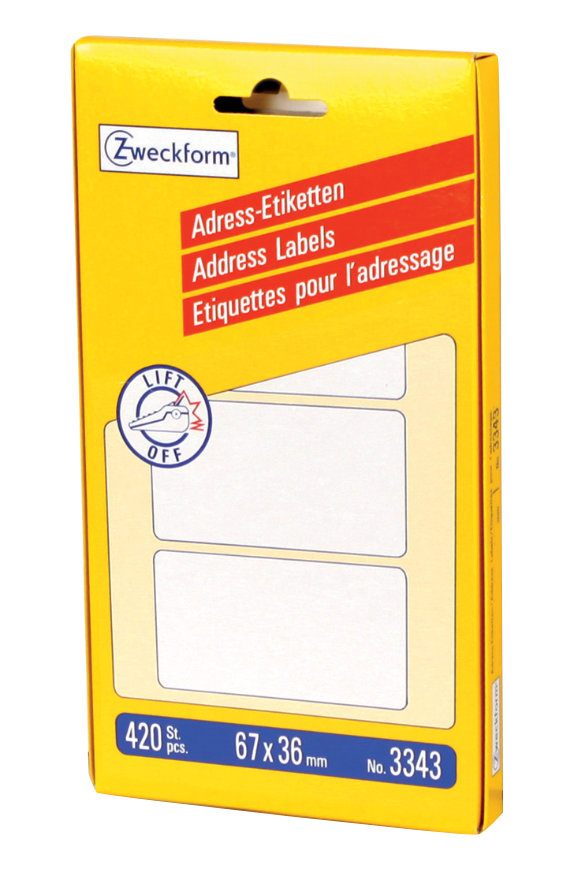 Avery Zweckform 3343 Adress-Etiketten, 67 x 36 mm