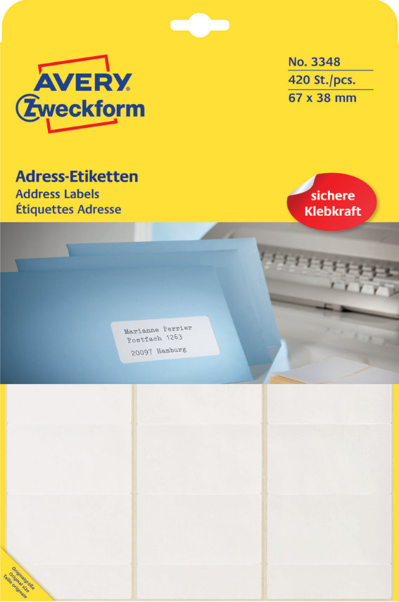 Avery Zweckform 3348 Adress-Etiketten, 67 x 38 mm