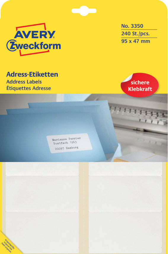 Avery Zweckform 3350 Adress-Etiketten, 95 x 47 mm