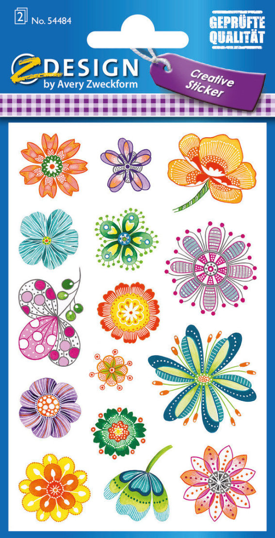 Z-Design 54484, Deko Sticker, Fantasieblumen, 2