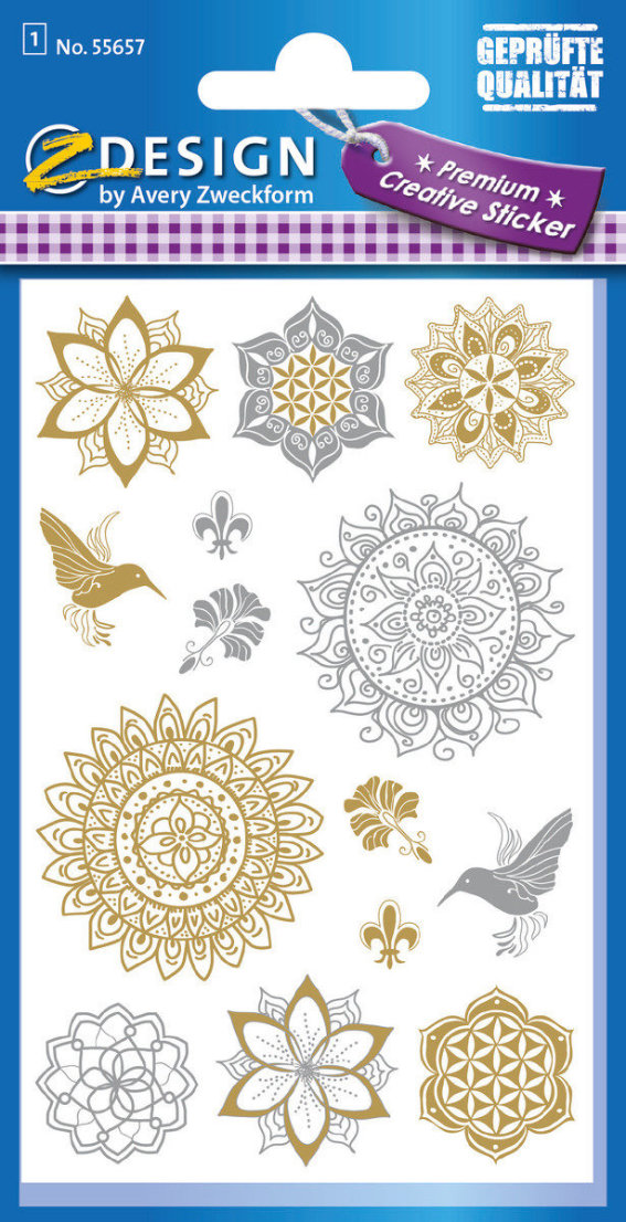 Z-Design 55657, Metallic Stickers, Floral, 1