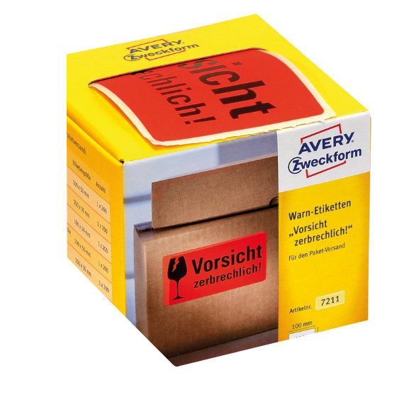Avery Zweckform 7211 Warnetiketten, 100 x 50 mm,