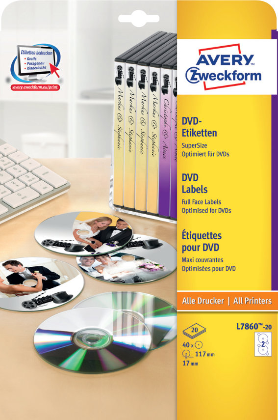Avery Zweckform L7860-20 DVD-Etiketten SuperSize,