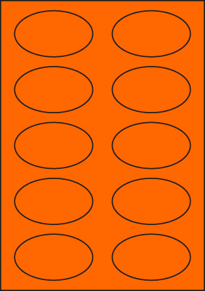 ENDI-HAFT Etiketten, oval 80x47 mm, leucht-orange