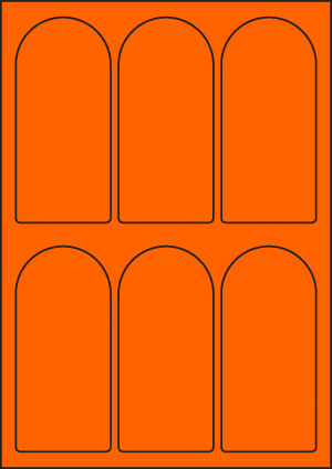 ENDI-HAFT Etiketten, 60x130 mm, leucht-orange