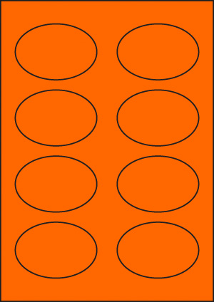 ENDI-HAFT Etiketten, oval 80x55 mm,  leucht-orange