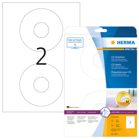 HERMA 4374 CD-Etiketten A4 Ø 116 mm transparent Folie