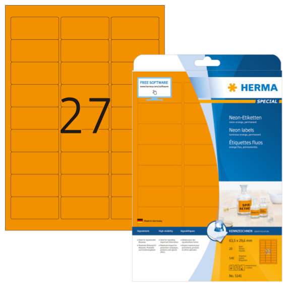 HERMA 5141 Neonetiketten A4 63,5x29,6 mm neon-orange Papier