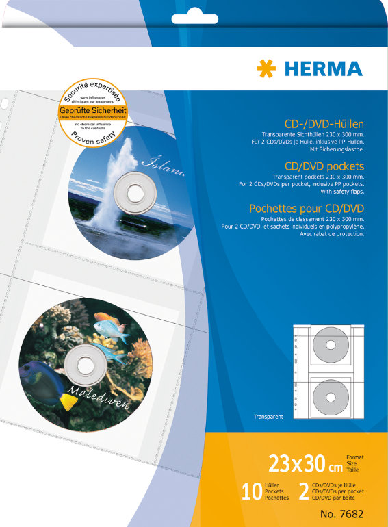 HERMA 7682 CD/DVD-Hüllen, transparente Folie incl.