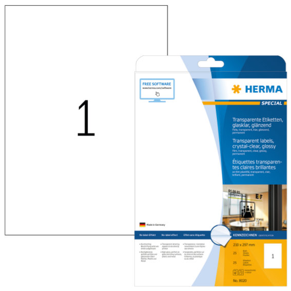 HERMA 8020 Etiketten transparent glasklar A4 210x297 mm